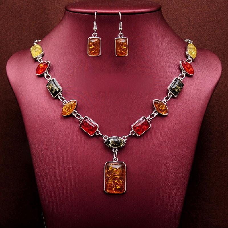 African Beads Square Charms Necklace Earring Set