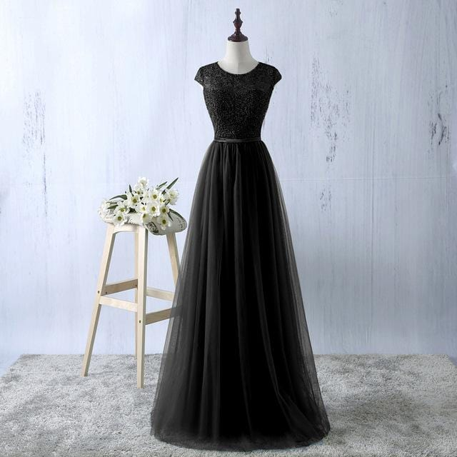 Lace Tulle A-line Formal Long Evening Party Dress Black