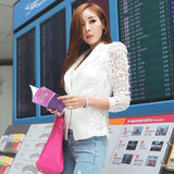 Front Blazer Long Sleeve Button Lace Casual Jacket Coat White