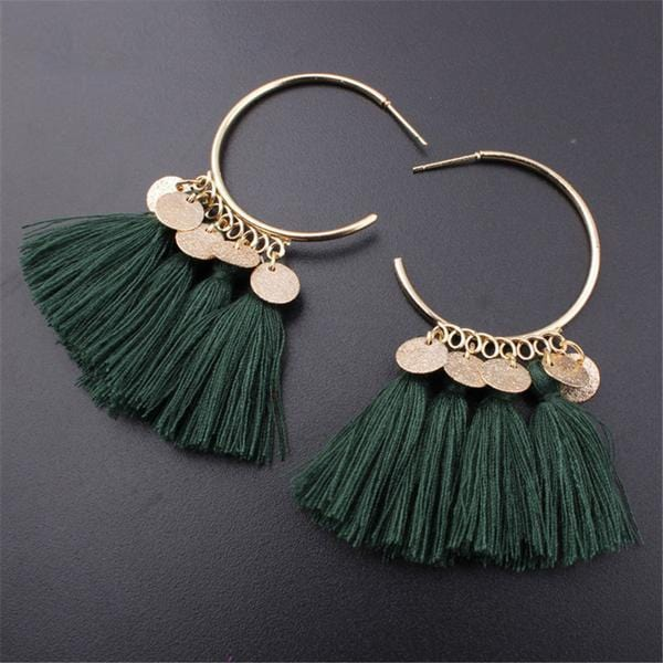 Bohemian Drop Dangle Trendy Cotton Tassel Earring Green
