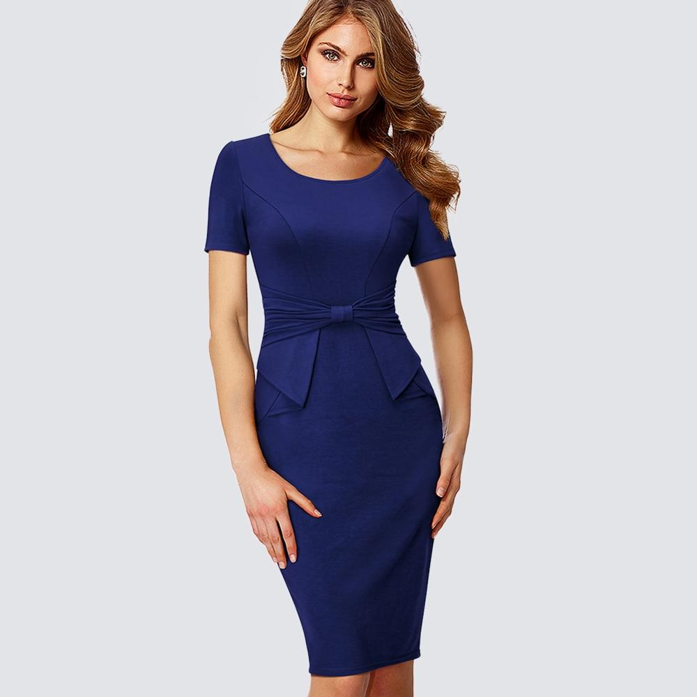 Ruched Drap Office Formal Dress Dark Blue