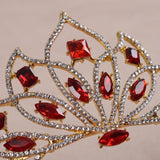 Crystal Bridal Rhinestone Crown Red
