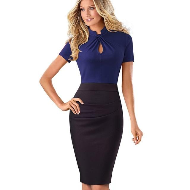 Forever Fine Contrast Patchwork Sheath Dress Blue