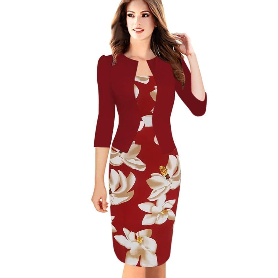 Fitted Faux Jacket One-Piece Flower Print Pencil Dress Brown