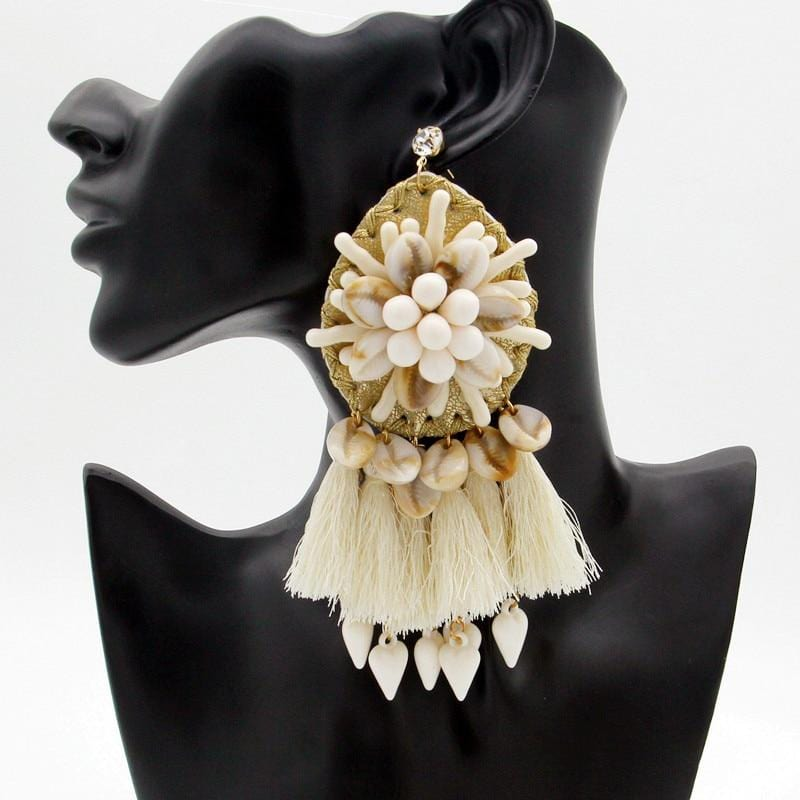 Big Fringed Shell Beads Boho Ethnic Earrings