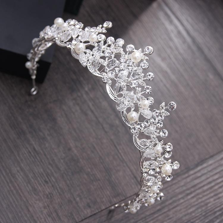 Elegant Crystal Pearl Tiaras Crown
