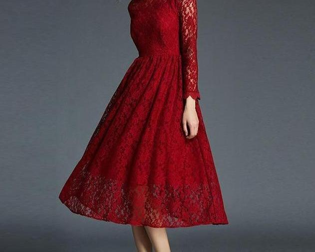 Red Lace Long Vintage Dress