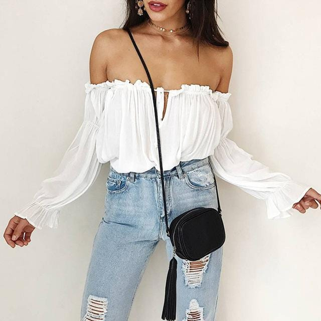 Off Shoulder Lantern Sleeves Top
