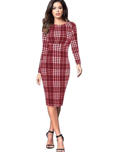 Vintage Style Plaid Print Full Sleeve Work Party Dress Red Plaid