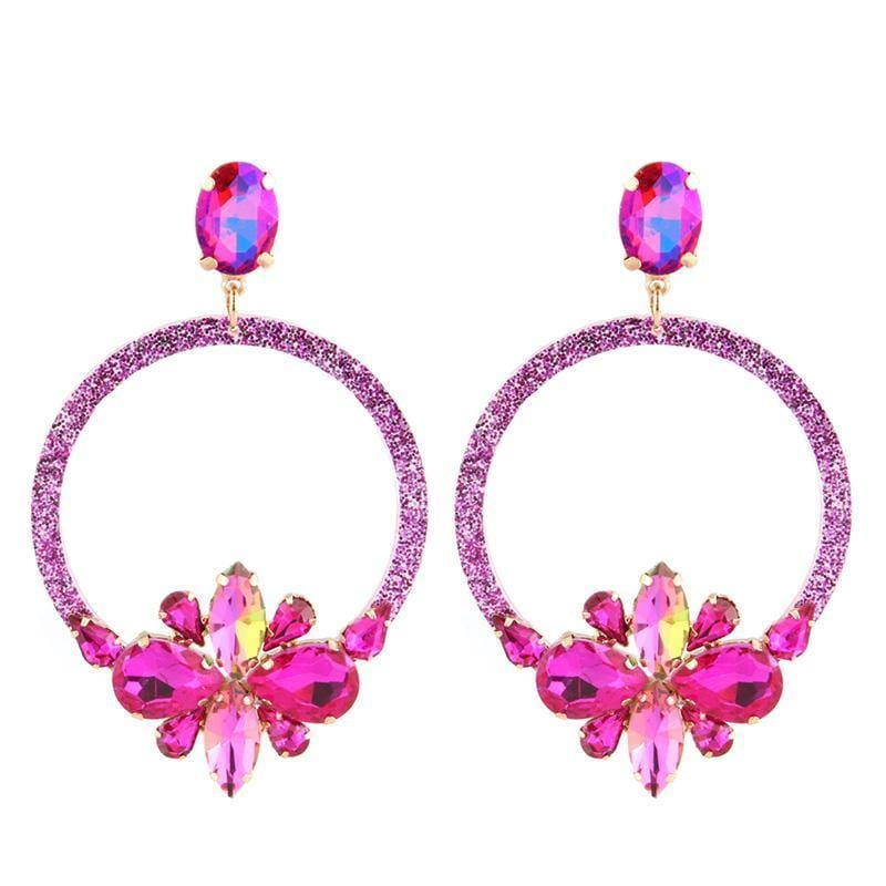 Big Round Rhinestone Flower Earrings