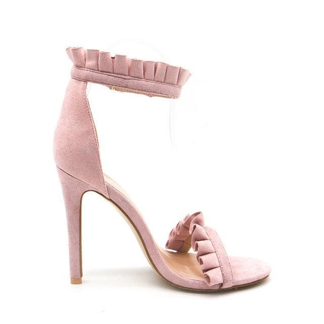 Ruffle Ankle Strap High Heels Pink