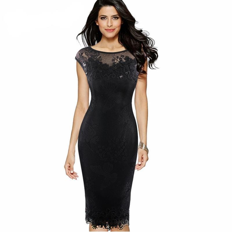 Sequins Embellished Lace Party Dress Black