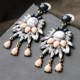 Classic Jewelry Rhinestone Crystal Long Earrings