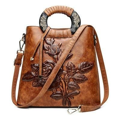 Chinoiserie Embossed Leather Handbag Brown