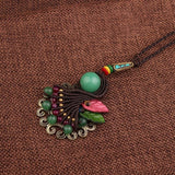 Vintage Handmade Braided Peacock Tail Necklace