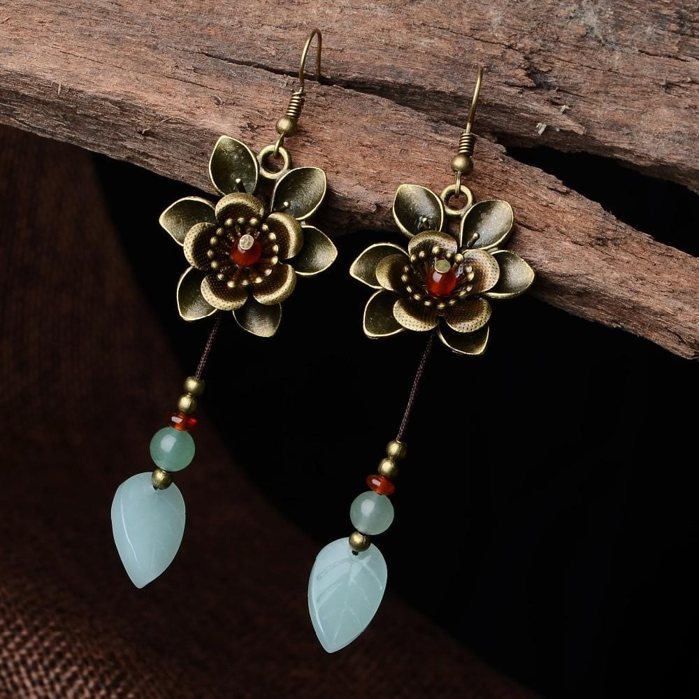 Vintage Aventurine Ethnic Copper Flowers Earrings
