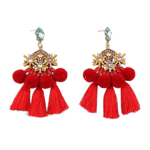 red pom pom tassel earrings