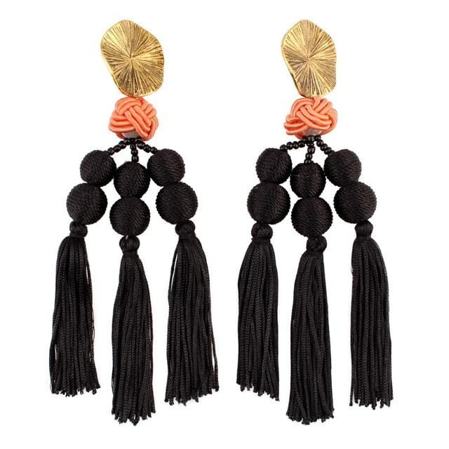 Pearl Bead Ball Pendant Drop Long Tassel Earrings Black