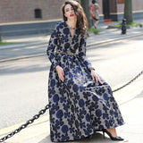 Vintage Navy Blue Floral Jacquard Long Maxi Dress