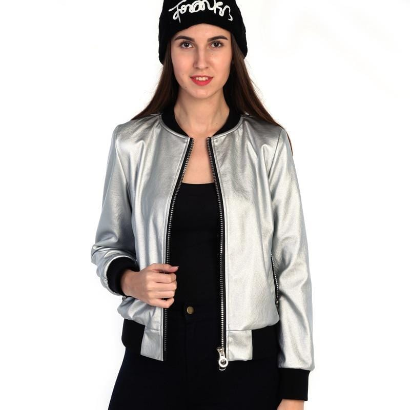 Metallic Silver Stylish Jacket Silver