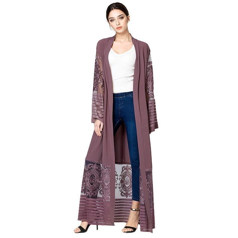 Lace Pathwork Embroidered Cardigan Abaya Purple