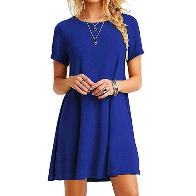 Casual Sleeve O-Neck Solid Loose Short Dress
