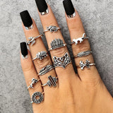 Antique Silver Carved Animal Ring Set