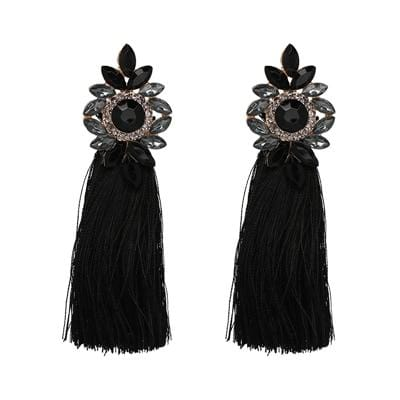 Long Tassel Crystal Drop Earrings