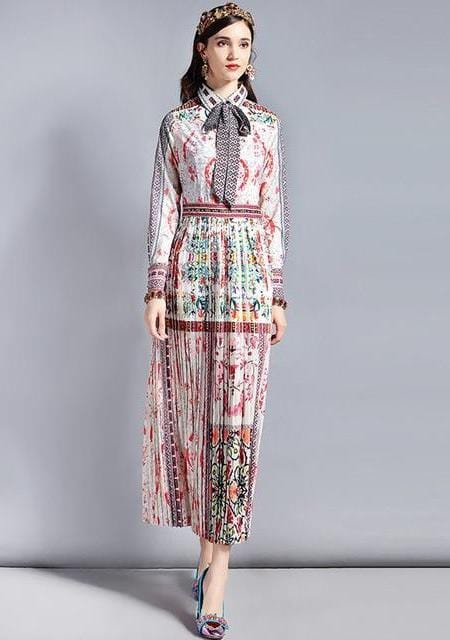 Bow Collar Retro Art Printed Vintage Long Dress
