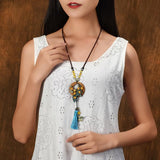 Blue tassel pendants Fashion yellow nature stones vintage wood necklace ,New ethnic necklace Aventurine weater necklace