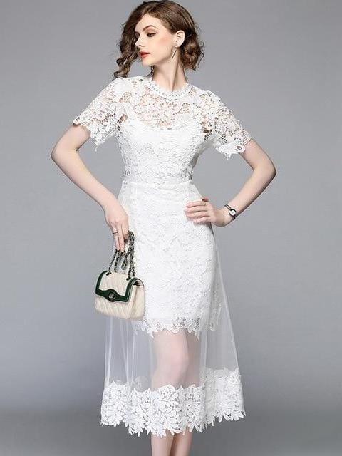 Summer Casual Mesh Patchwork Lace Dress