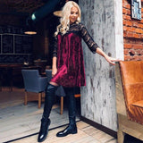Velvet Dress Pleated Dress Wine Red