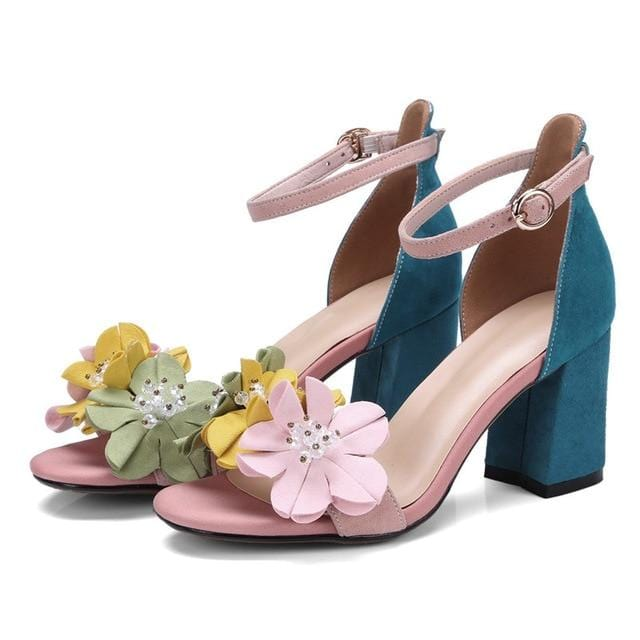 Flowers Embellished Ankle Strap Sandals