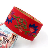 Flower Embroidery Stylish Bracelet Red