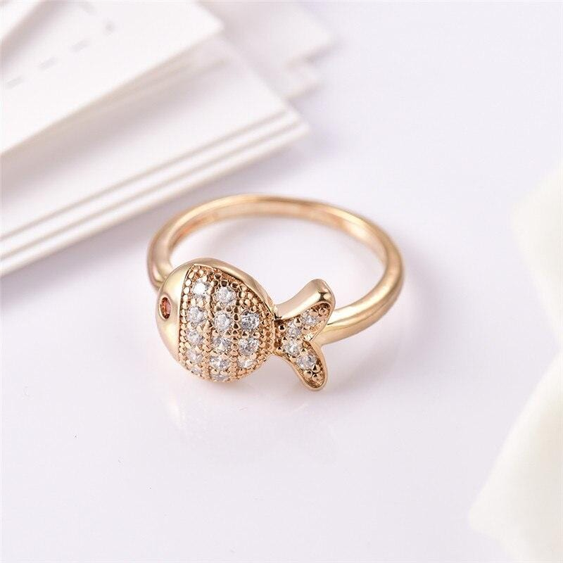 Crystal Vintage Fish Shape Ring
