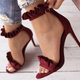Ruffle Ankle Strap High Heels Wine Red