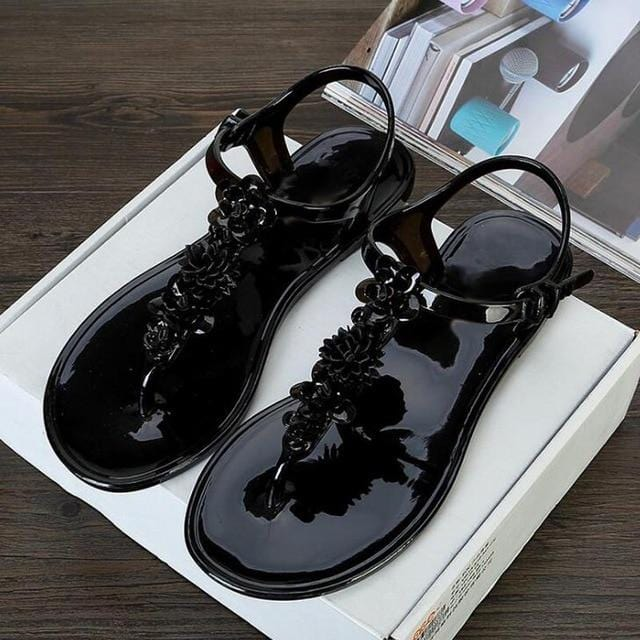 Jelly Look Flower Decor Beach Flip Flops Black