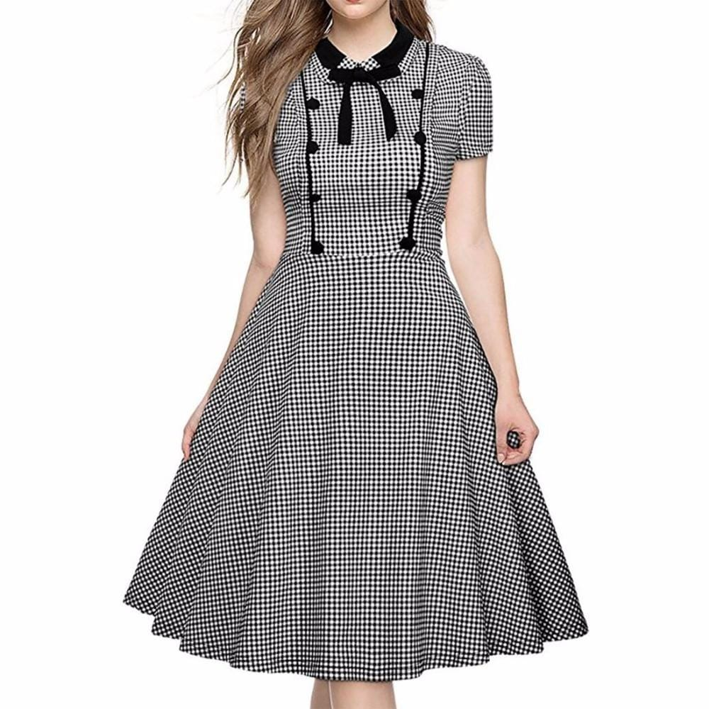 Polka Dot Turn-down Collar Fit And Flare Dress