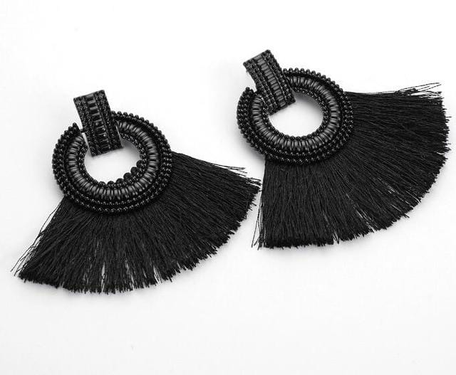 Bohemian Big Tassel Large Earrings Summer Beach Wear