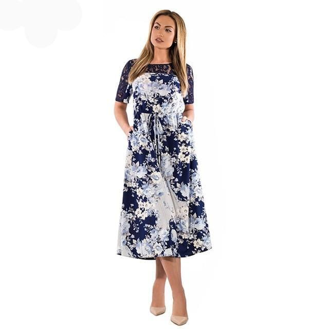 Floral Print Casual Long Dress