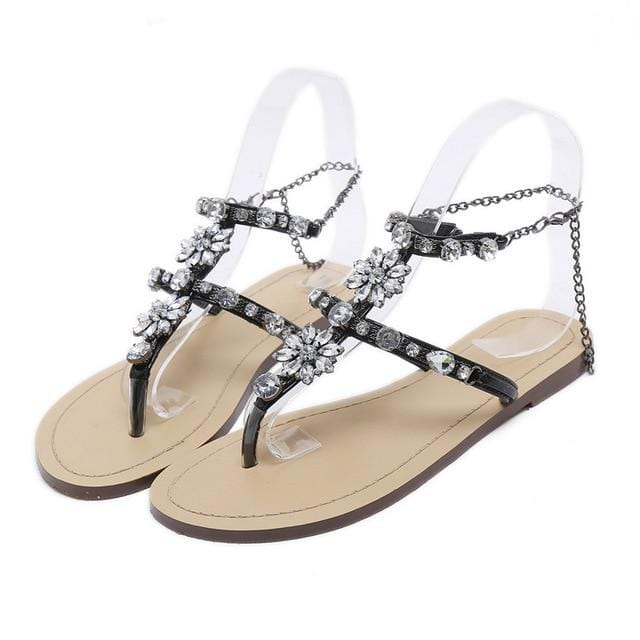 Rhinestones Chains Gladiator Flat Sandals Black