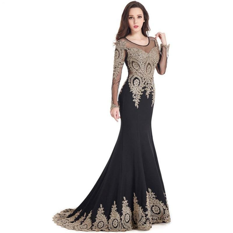 Black Long Sleeve Mermaid Kaftan Evening Dresses