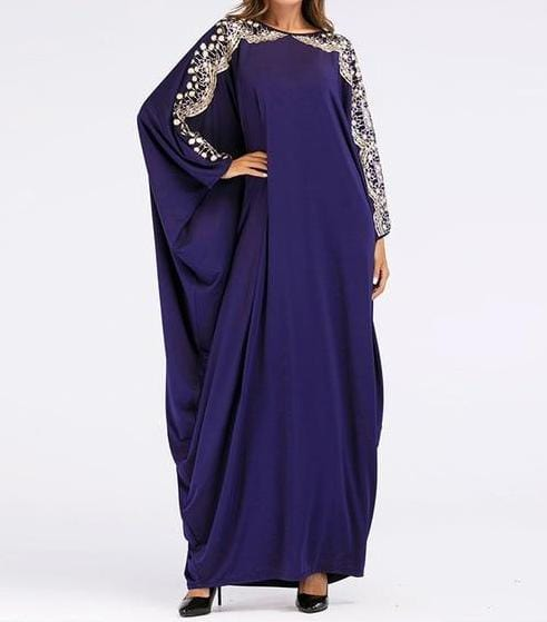 Bat Shaped Long Sleeves Maxi Dress