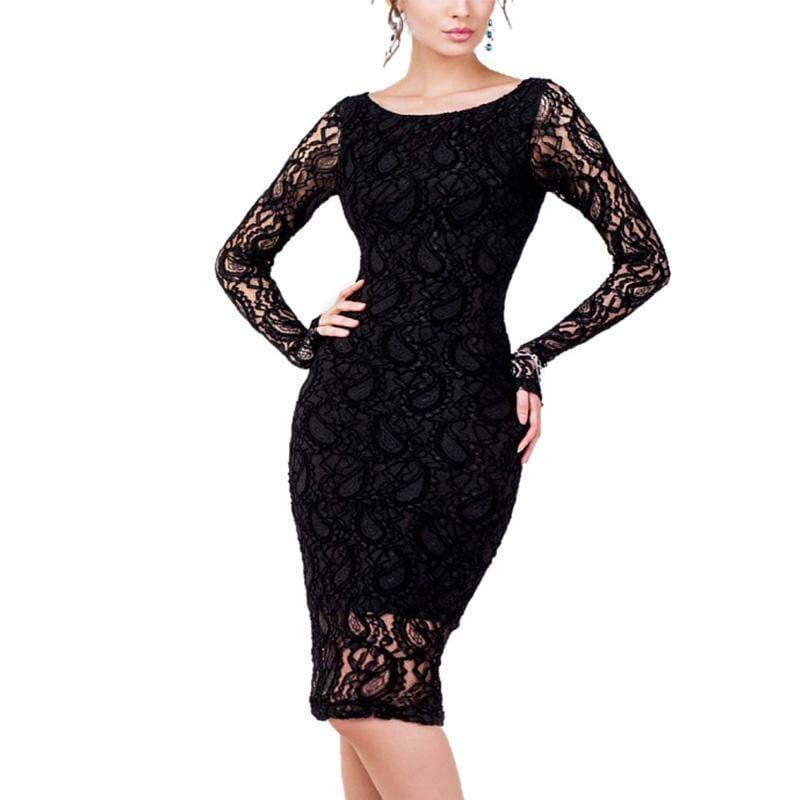 Long Sleeves Plus Size Sexy Long Dress Black