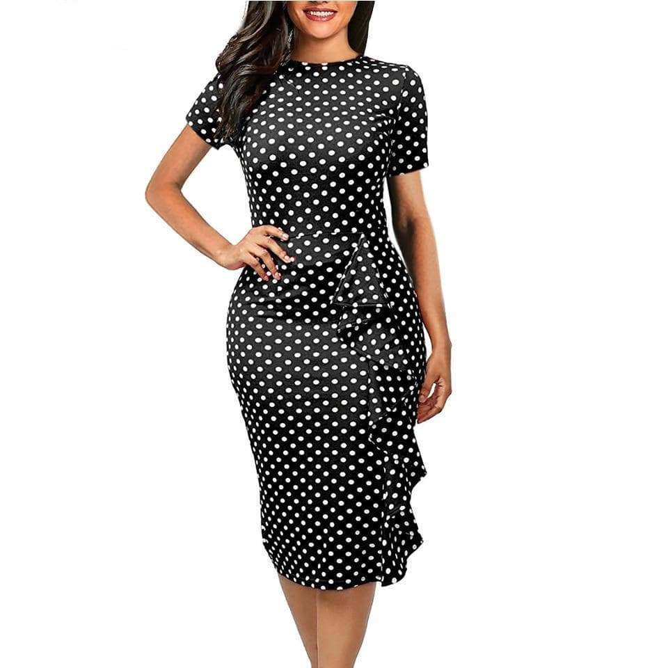 Polka Dot Print O-Neck Office Dress