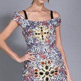 Crystals And Diamonds Beaded High Fashion Vintage Dress Multi