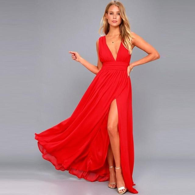 Sexy V-Neck Long Maxi Dress