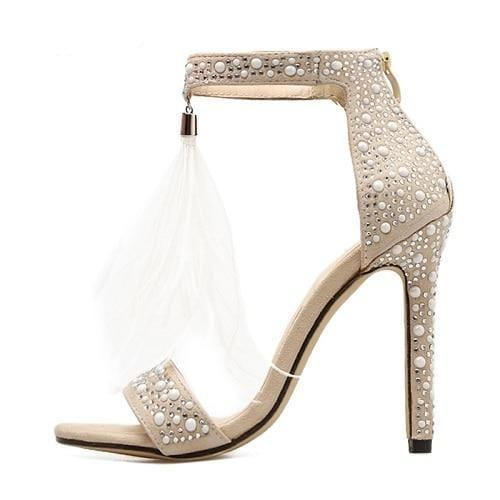 Feather Tassel Rhinestones Embellished Zipper Heels