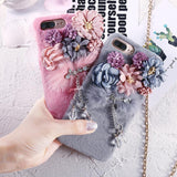 Korean Flower Soft Fur iPhone Case