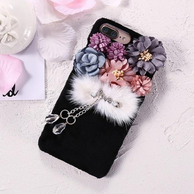 Korean Flower Soft Fur iPhone Case Black